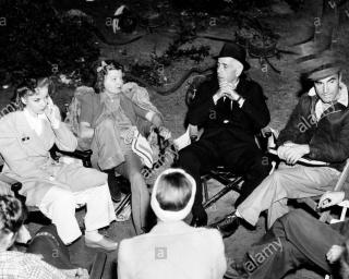 Ida Lupino, Mayo Methot, Humphrey Bogart and Irving Rapper on location for High Sierra (Alamy stock photo)